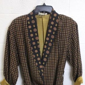 Vintage black and gold paisley robe blazer